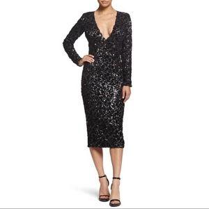 "DRESS THE POPULATION ""Elizabeth"" Sequin Midi Dress"